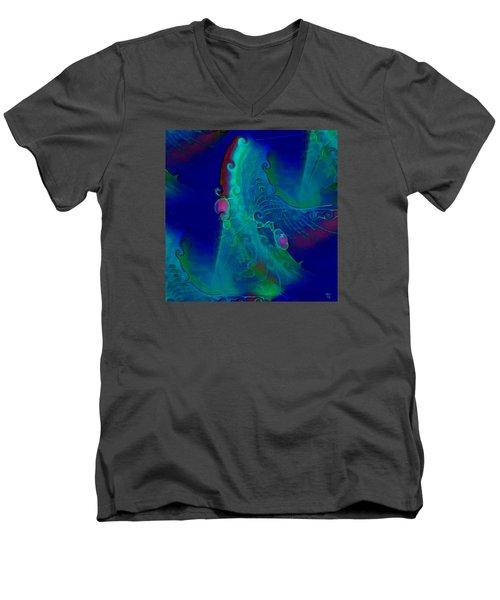 Cursive Men's V-Neck T-Shirt by  Fli Art