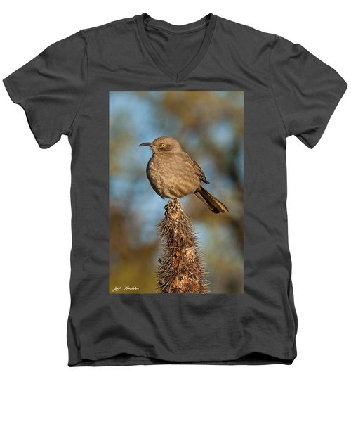 Curve-billed Thrasher On A Cactus Men's V-Neck T-Shirt