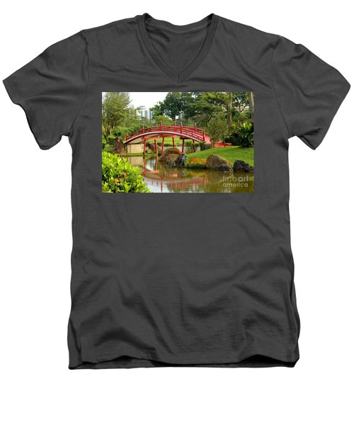 Curved Red Japanese Bridge And Stream Chinese Gardens Singapore Men's V-Neck T-Shirt by Imran Ahmed
