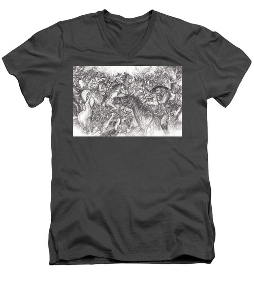 Custer's Clash Men's V-Neck T-Shirt