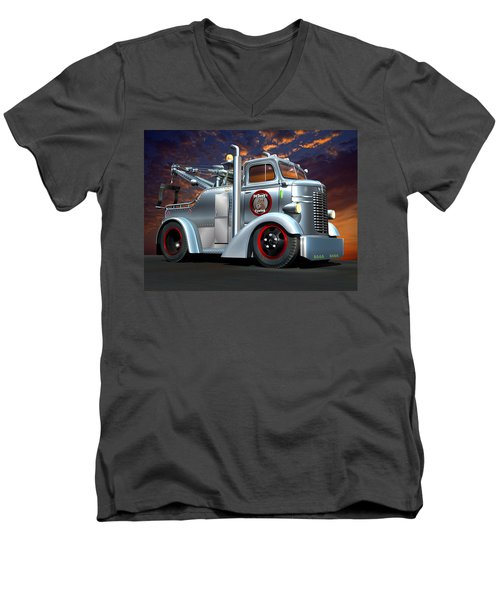 Men's V-Neck T-Shirt featuring the digital art Custom Coe Tow Truck by Stuart Swartz