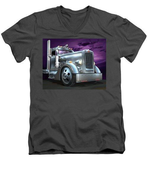 Men's V-Neck T-Shirt featuring the digital art Custom Peterbilt Silver Ghost by Stuart Swartz