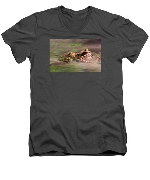 Men's V-Neck T-Shirt featuring the photograph Cute Litte Creek Frog by Dreamland Media