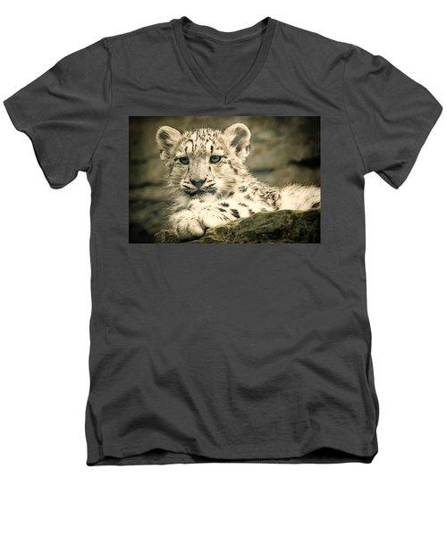 Cute Snow Cub Men's V-Neck T-Shirt