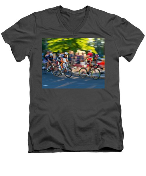Cycling Pursuit Men's V-Neck T-Shirt by Kevin Desrosiers
