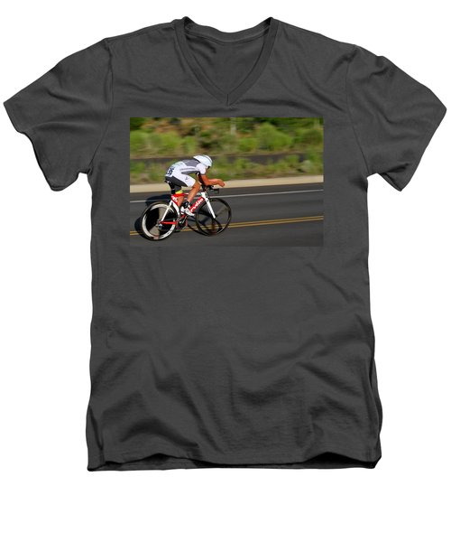 Cycling Time Trial Men's V-Neck T-Shirt by Kevin Desrosiers