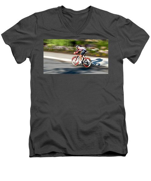 Cyclist Racing The Clock Men's V-Neck T-Shirt by Kevin Desrosiers