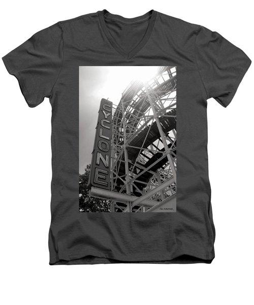 Cyclone Rollercoaster - Coney Island Men's V-Neck T-Shirt by Jim Zahniser