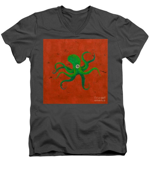 Cycloptopus Red Men's V-Neck T-Shirt by Stefanie Forck