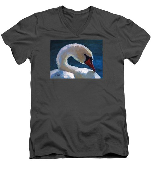 Men's V-Neck T-Shirt featuring the painting Cygnus by Pattie Wall