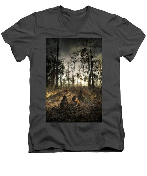 Cypress Stumps And Sunset Fire Men's V-Neck T-Shirt