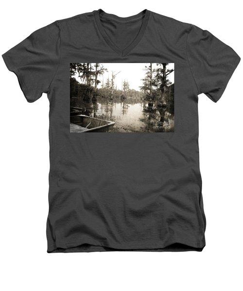 Cypress Swamp Men's V-Neck T-Shirt by Scott Pellegrin