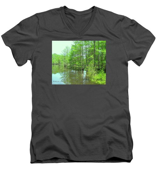 Men's V-Neck T-Shirt featuring the photograph Bright Green Cypress Trees Reflection by Belinda Lee