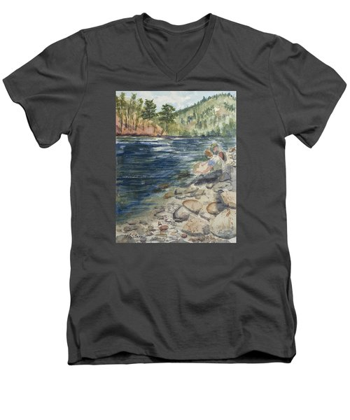 Dad And Son Gearing Up Men's V-Neck T-Shirt