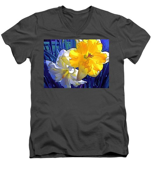Men's V-Neck T-Shirt featuring the photograph Daffodils 1 by Pamela Cooper