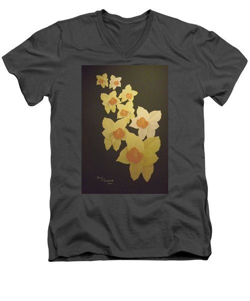 Daffodils Men's V-Neck T-Shirt by Terry Frederick