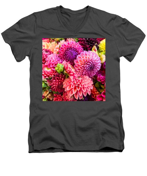 Dahlia Bouquet Number 2 Men's V-Neck T-Shirt