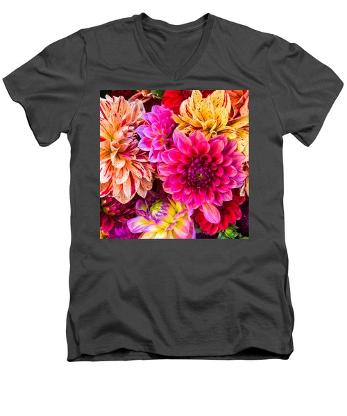 Dahlia Bouquet Number 3 Men's V-Neck T-Shirt