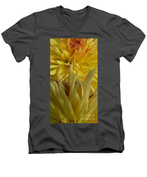 Men's V-Neck T-Shirt featuring the photograph Dahlia Dew Yellow by Susan Garren