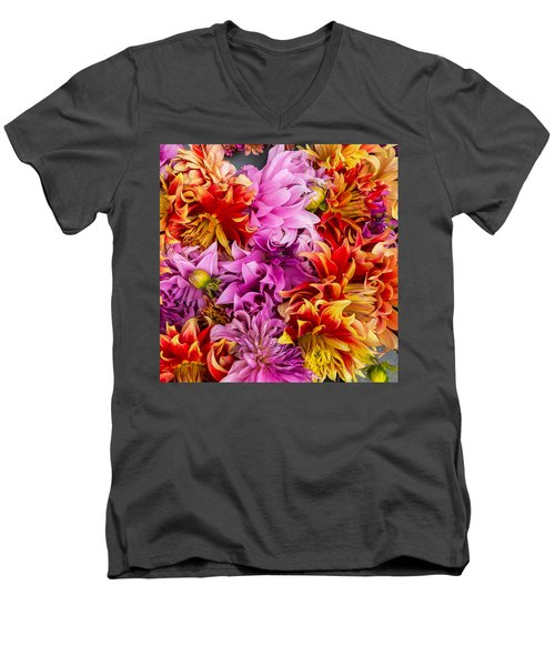 Dahlia Swirl Men's V-Neck T-Shirt