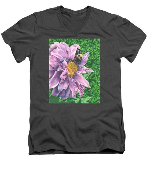 Dahlia Men's V-Neck T-Shirt by Troy Levesque