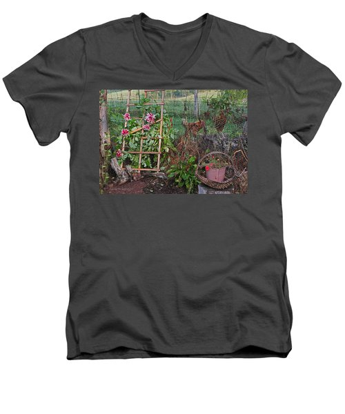 Dahlias And Chickens Men's V-Neck T-Shirt by Denise Romano