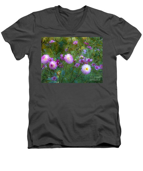 Dahlias And Cosmos  Men's V-Neck T-Shirt by Judy Via-Wolff