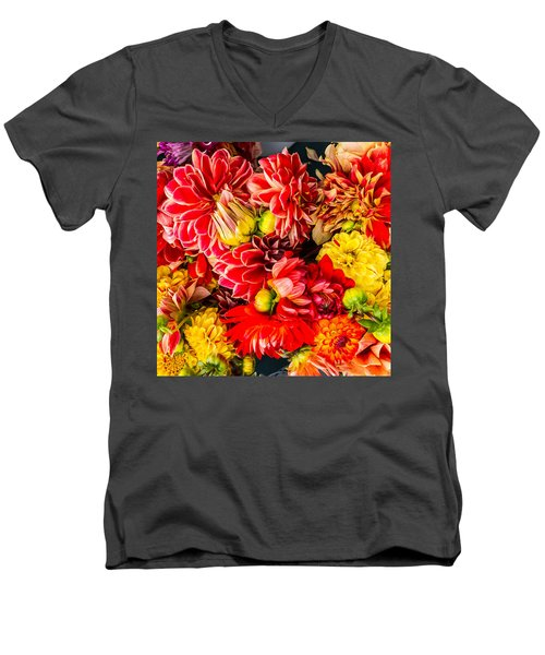 Dahlias Summer Color Men's V-Neck T-Shirt