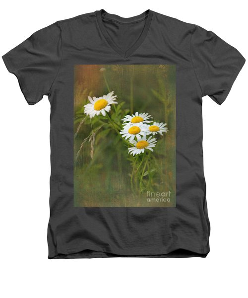Daisies Men's V-Neck T-Shirt by Lena Auxier