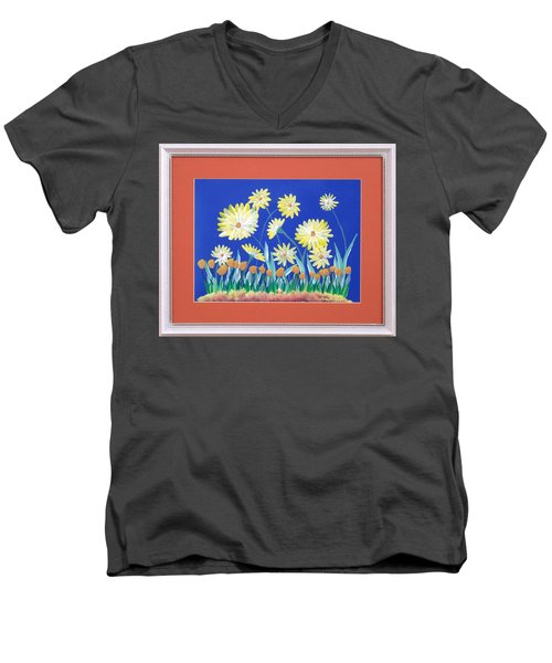 Men's V-Neck T-Shirt featuring the painting Daisies by Ron Davidson