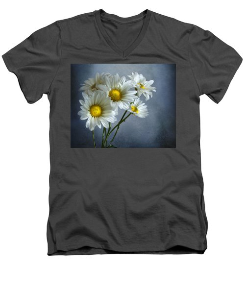 Men's V-Neck T-Shirt featuring the photograph Daisy Bouquet by Ann Lauwers