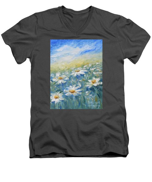 Men's V-Neck T-Shirt featuring the painting Daisies by Jane  See
