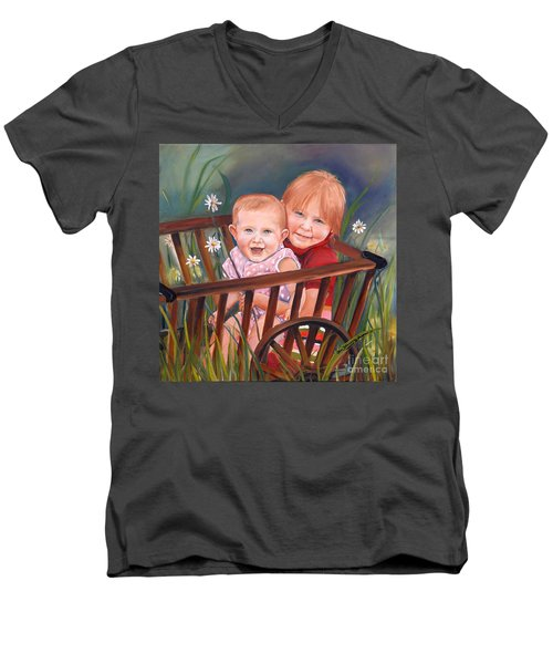 Men's V-Neck T-Shirt featuring the painting Daisy - Portrait - Girls In Wagon by Jan Dappen
