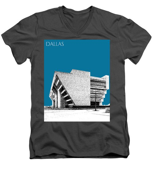 Dallas Skyline City Hall - Steel Men's V-Neck T-Shirt