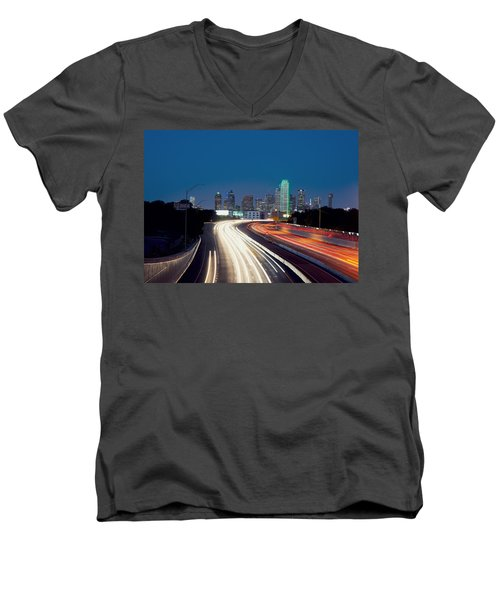 Dallas Night Skyline Light Trails Men's V-Neck T-Shirt