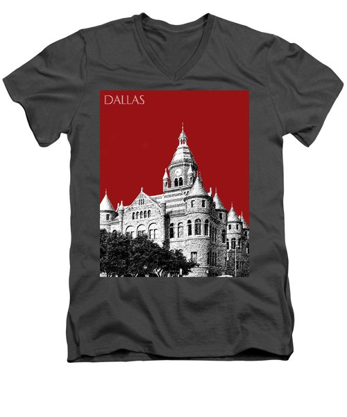 Dallas Skyline Old Red Courthouse - Dark Red Men's V-Neck T-Shirt