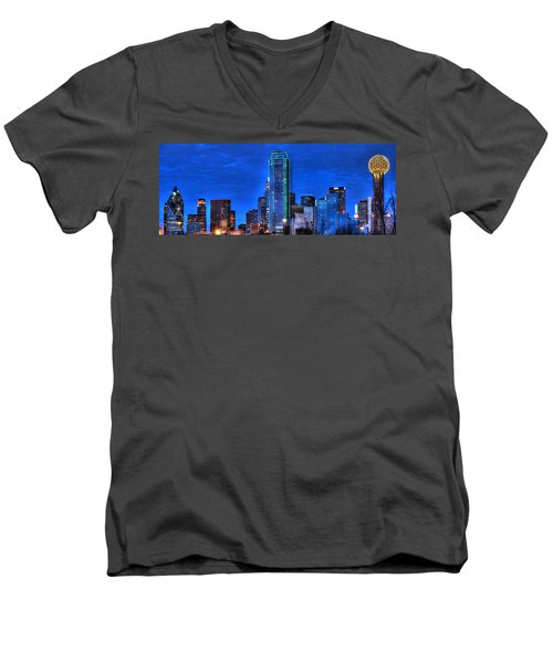 Dallas Skyline Hd Men's V-Neck T-Shirt
