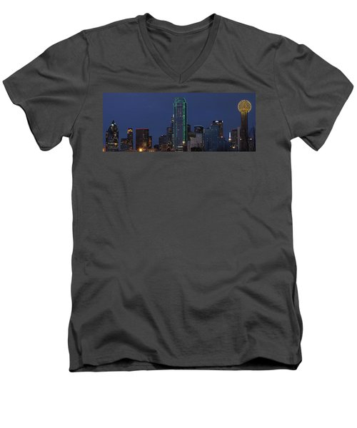 Dallas Skyline Men's V-Neck T-Shirt by Jonathan Davison