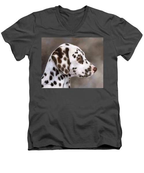 Dalmatian Puppy Painting Men's V-Neck T-Shirt