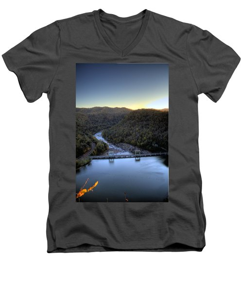 Men's V-Neck T-Shirt featuring the photograph Dam Across The River by Jonny D