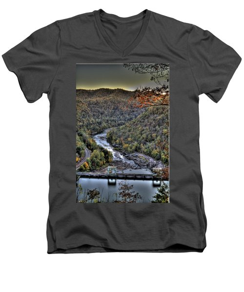 Men's V-Neck T-Shirt featuring the photograph Dam In The Forest by Jonny D