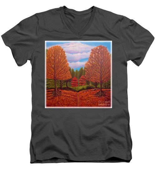 Dance Of Autumn Gold With Blue Skies Revised Men's V-Neck T-Shirt by Kimberlee Baxter