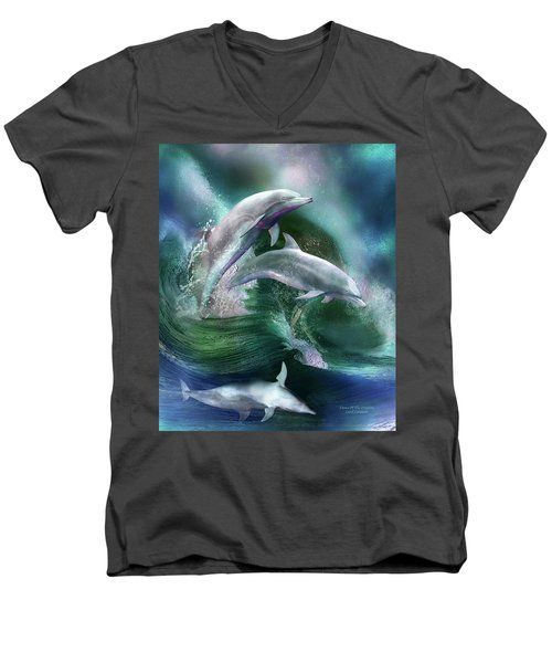 Men's V-Neck T-Shirt featuring the mixed media Dance Of The Dolphins by Carol Cavalaris