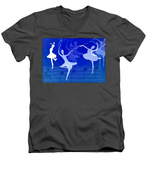 Dance The Blues Away Men's V-Neck T-Shirt by Joyce Dickens