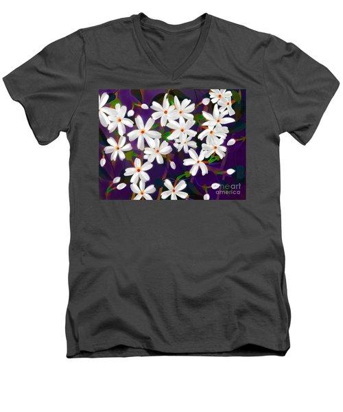Men's V-Neck T-Shirt featuring the digital art Dancing Coral Jasmines by Latha Gokuldas Panicker