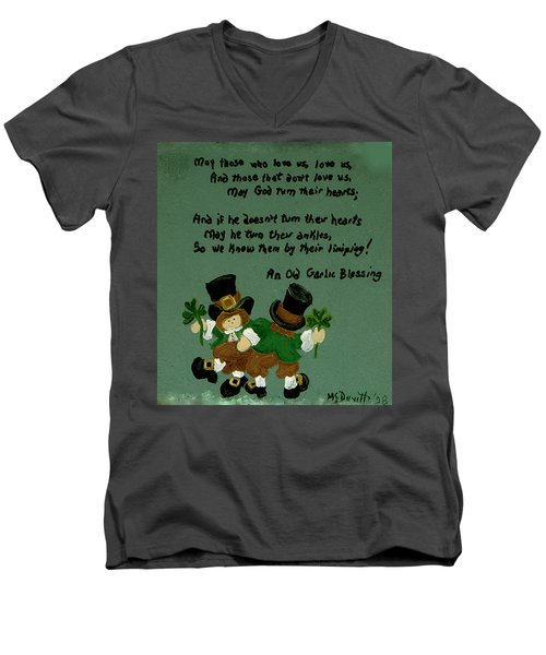 Men's V-Neck T-Shirt featuring the painting Dancing Folk by Barbara McDevitt