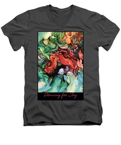 Men's V-Neck T-Shirt featuring the painting Dancing For Joy 2 by Brooks Garten Hauschild