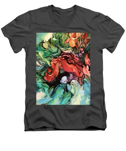 Men's V-Neck T-Shirt featuring the painting Dancing For Joy by Brooks Garten Hauschild