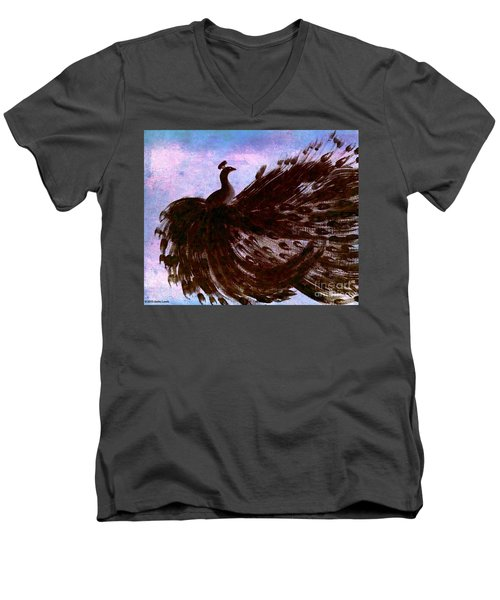 Men's V-Neck T-Shirt featuring the digital art Dancing Peacock Blue Pink Wash by Anita Lewis