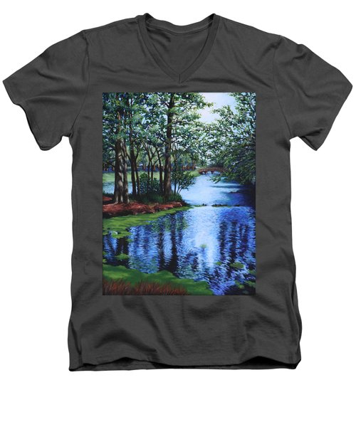 Men's V-Neck T-Shirt featuring the painting Dancing Waters by Penny Birch-Williams